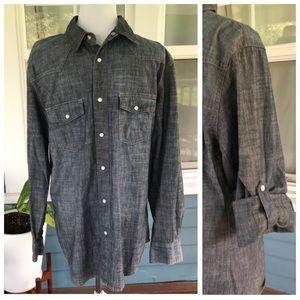 PD&C Black Denim Pearlized Snap Down Shirt